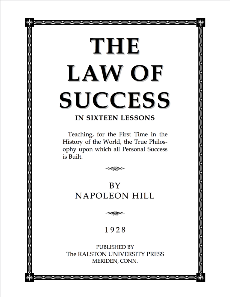 law of success The law of success course - napoleon hill, listen to free sample of napoleon hills the law of success course and then join our members for full access to all.